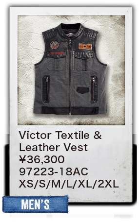 【MEN'S】Victor Textile & Leather Vest ¥36,300  97223-18AC XS/S/M/L/XL/2XL