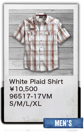 【MEN'S】White Plaid Shirt