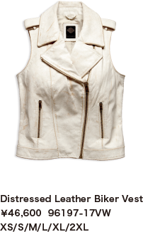 Distressed Leather Biker Vest¥46,600  96197-17VW XS/S/M/L/XL/2XL